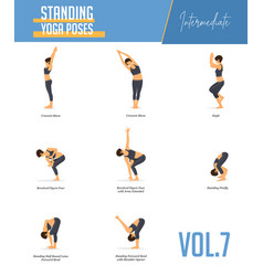 yoga poses for concept balancing standing poses vector image
