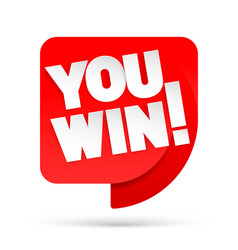 you win red tag winner symbol vector image