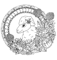 zentangl sheep in the round vector image