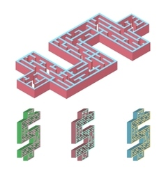 3D labyrinth Isometric vector image