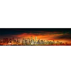 abstract red sunset background with panorama of vector image