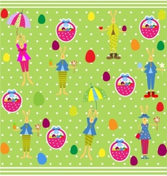 Cute Easter seamless with bunnies and eggs vector image vector image