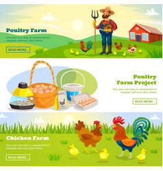 farming horizontal banners set vector image