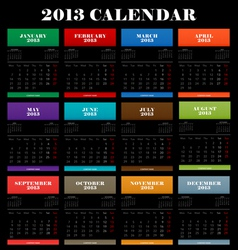 Full color 2013 calendar vector image vector image