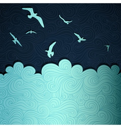 Seagulls above waves vector image vector image