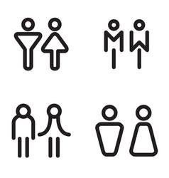 toilet restroom bathroom icons vector image