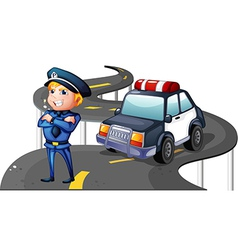 A police and his patrol car in the middle of the vector image