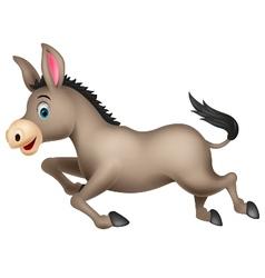 Cute donkey cartoon running vector image vector image