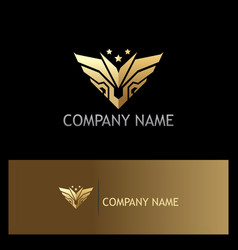 gold abstract wing emblem star logo vector image
