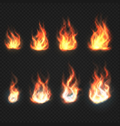 isolated fire flames power and energy symbols vector image