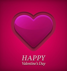 Valentines day greetings card with big pink heart vector image