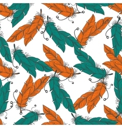 Boho seamless pattern with feathers vector image vector image