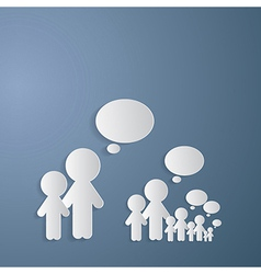 Cut Paper People With Empty Speech Bubble on Blue vector image vector image