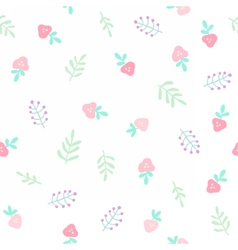 Cute tiny flowers and berries Seamless pattern vector image