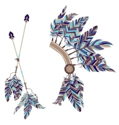 Headdress indians and two arrows with feathers on vector