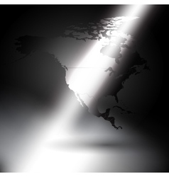North america map in the rays of light background vector image