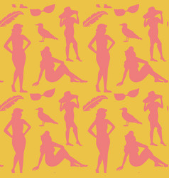 retro woman in swimsuit seamless pattern vector image