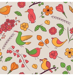 Seamless pattern with cute birds vector image vector image