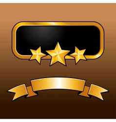 Shiny golden label with star and ribbon vector image