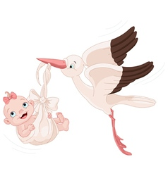 Stork And Baby Girl vector image vector image