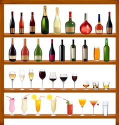 super collection of bottles and glasses vector image