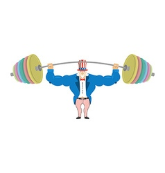 Uncle Sam and sports barbell Powerful Uncle Sam vector image vector image