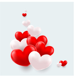 composition of red and white hearts vector image
