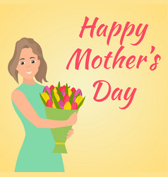 happy mothers day woman with beautiful colorful vector image