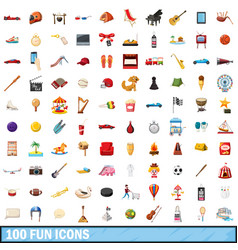 100 fun icons set cartoon style vector image