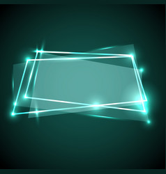 Abstract background with green neon banner vector
