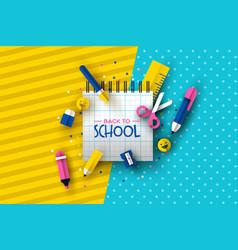 Back to school card papercut fun children supplies vector