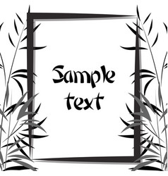 Bamboo frame black and white vector