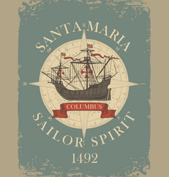 banner with vintage sailing yacht of columbus vector image