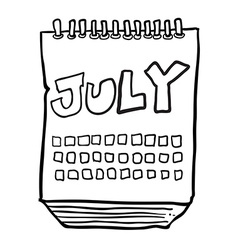 black and white freehand drawn cartoon calendar vector image