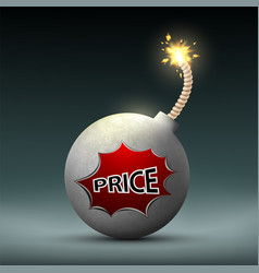 bomb with a wick and word price sale vector image