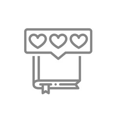 Book with hearts in chat bubble line icon vector