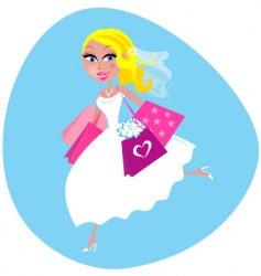 bride with shopping bags vector image