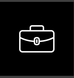briefcase line icon on black background black vector image
