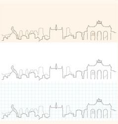 Brussels hand drawn skyline vector