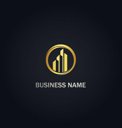 building cityscape business gold logo vector image