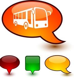 Bus speech comic icons vector