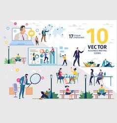 Businesspeople work activities concepts set vector