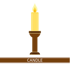 Candlestick with candle isolated vector