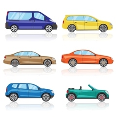 Cars icons set 6 different colorful 3d sports car vector