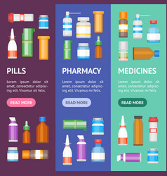cartoon medicine bottles for drugs banner vector image