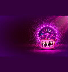 Casino neon colorful fortune wheel neon slot vector