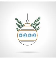 Christmas ball flat color line icon vector image