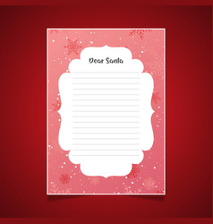 christmas letter to santa with snowflakes vector image