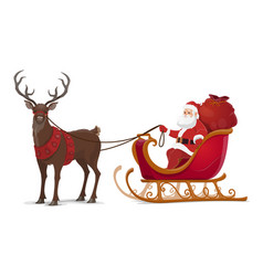 christmas santa sleigh with reindeer vector image