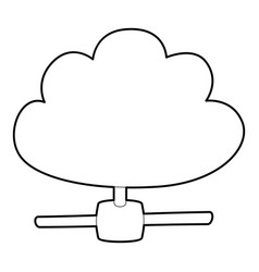 Cloud database icon outline style vector